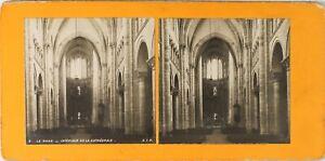 FRANCE-Le-Mans-Interieur-Cathedrale-Photo-Stereo-Vintage-Argentique-PL60L122