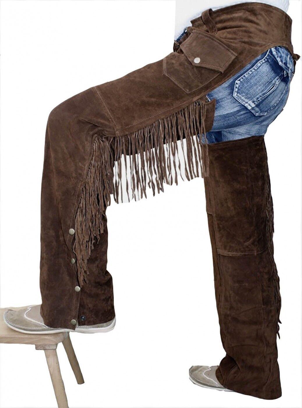 German Wear, Chaps Fransenhose Cowboy Indianer Western Lederchaps D.brown
