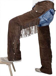 Charmant German Wear, Chaps Fransenhose Cowboy Indiens Western Lederchaps D. Marron-afficher Le Titre D'origine