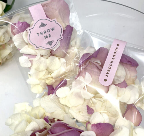 Confetti Throw Me wedding Rose Petals Pink stickers labels Rose Gold foil x 10