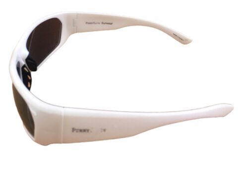 Perry Ellis Mens Sunglass White Plastic Wrap Light Smoke Flash Lens PE12 5