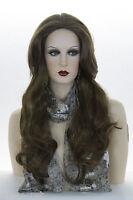 Medium Golden Brown Brunette Long Skin Top Straight Wigs