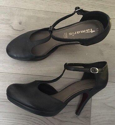 Tamaris Pumps Plateaupumps Fesselpumps High Heels schwarz Echtleder Gr. 41 | eBay