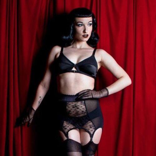 Black Sheer Lace Girdlette Waist Cincher Girdle Suspender garter belt lingerie