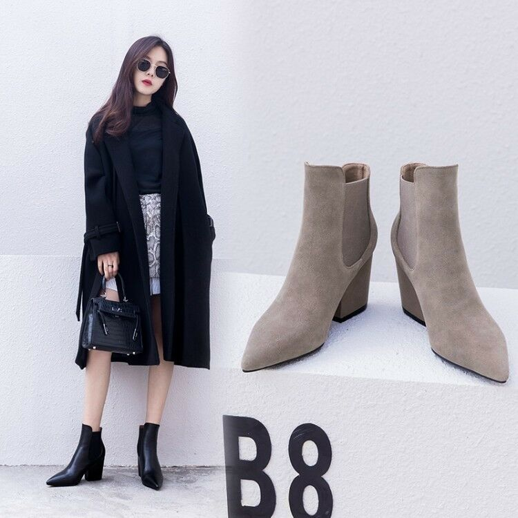 Femme Vogue cuir bout pointu talon bottier et élastique Cheville Bottes Chaussures AEAI