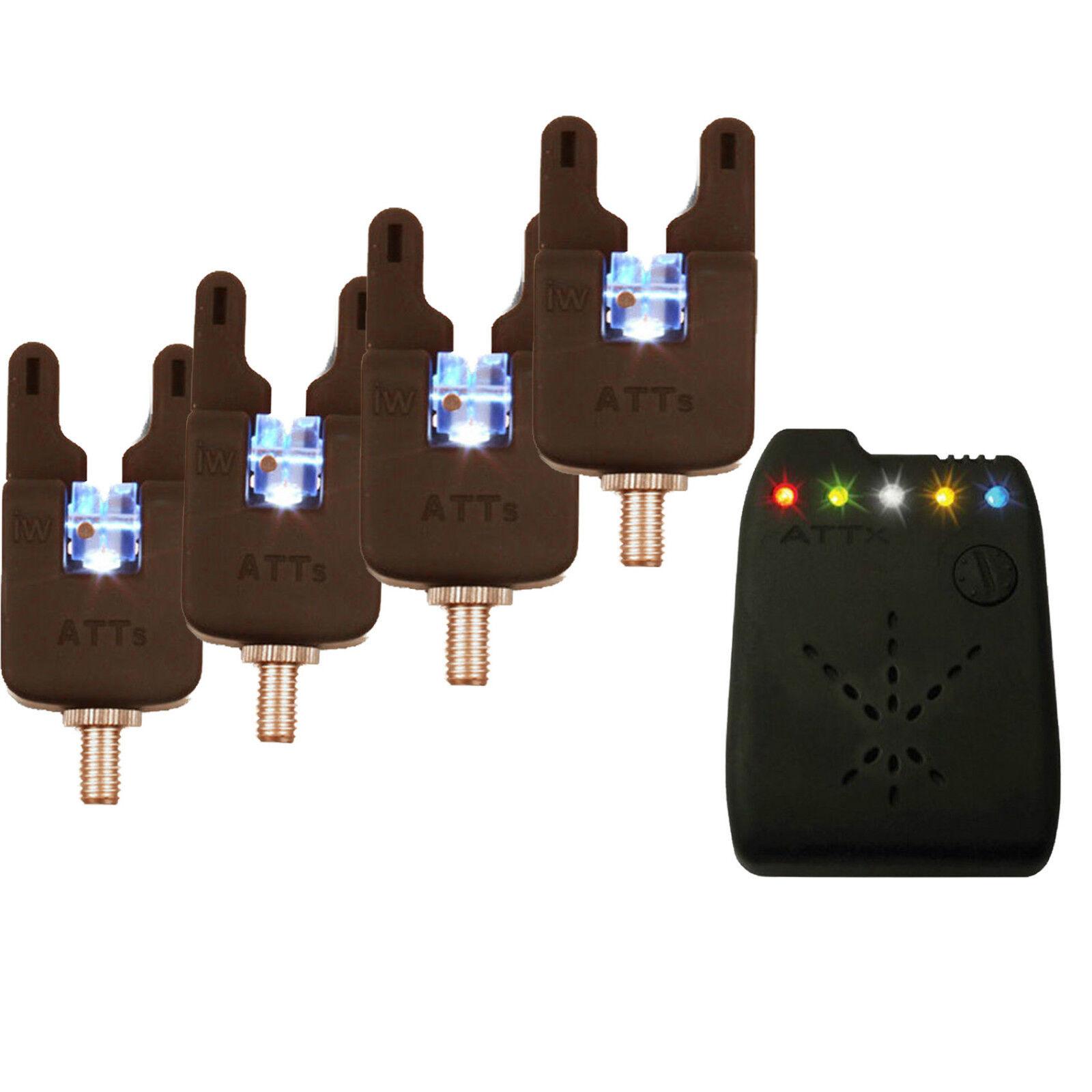 Gardner ATTs Underlit Wheel Bite Alarms x 4 + V2 ATTx Receiver Brand New