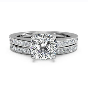 1.05 Ct Cushion Real Moissanite Engagement Band Set Solid 18K White Gold Size 8