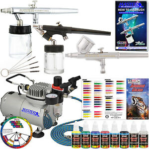 Master-3-Airbrush-amp-Air-Compressor-Kit-6-Primary-Colors-Acrylic-Paint-Set-Hose