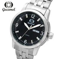 Luxury Mens Fashion Date Sport Stainless Steel Leahter Quartz Analog Wrist Watch