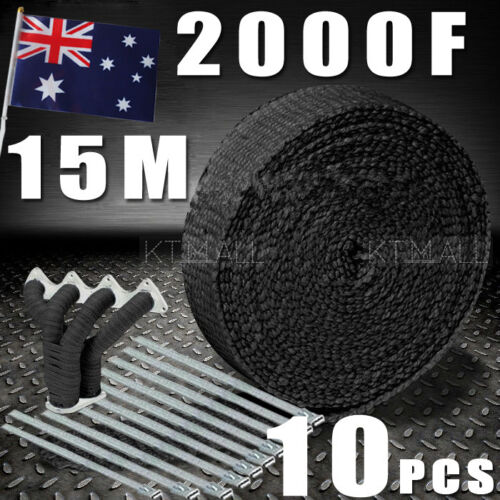 1 of 1 - AU Local   WRAP 50MM X 15M + 10 STAINLESS STEEL TIES 2000F BLACK EXHAUST HEAT