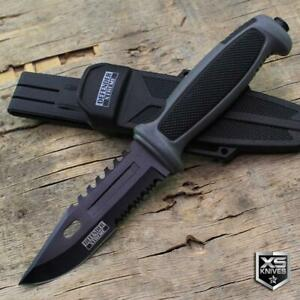 """9.5"""" Tactical SURVIVAL Fixed Blade HUNTING KNIFE Military COMBAT Camping Grey"""
