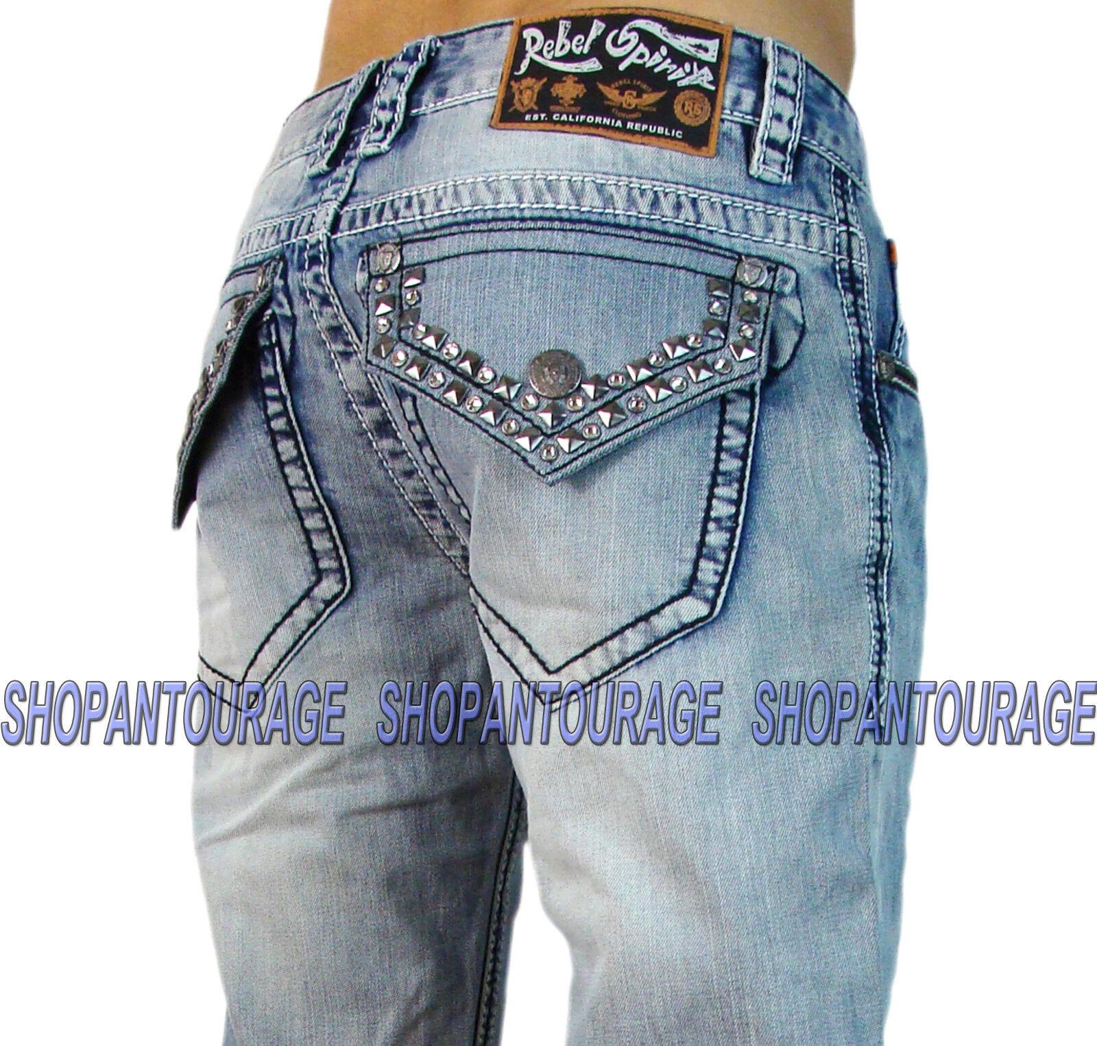 Rebel Spirit J023S047 New Men`s Straight Leg Denim Jeans With Swarovski Crystals