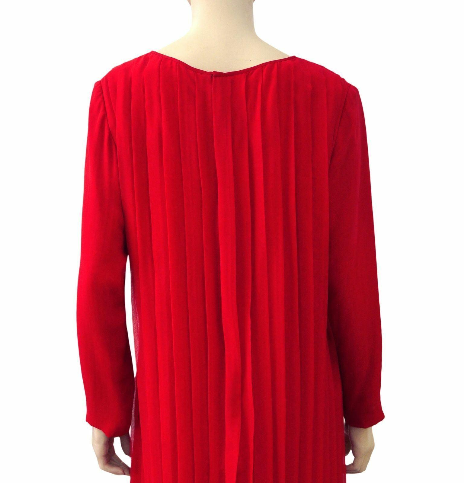 GALANOS GALANOS GALANOS for Amen Wardy Red Pleated Silk Midi Shift Dress M L 302982
