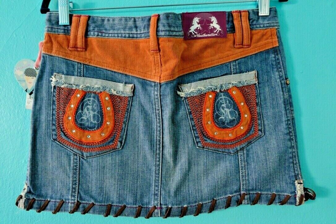 HEATHERETTE Denim Western COWGIRL Horse schuhe Embroiderot Saddle Stitch Skirt 7