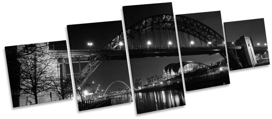 Tyne bridge newcastle nuit b&w multi toile murale art photo box frame