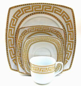 Image is loading Euro-Porcelain-20-pc-White-Dinnerware-Set-Service-  sc 1 st  eBay & Euro Porcelain 20-pc White Dinnerware Set Service for 4 Gold-plated ...