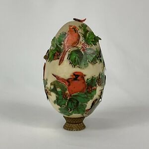 Vintage-Victorian-Style-Decoupage-ACTUAL-Egg-Paper-Cardinals-Stand-Holly-Birds