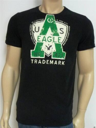 American Eagle Outfitters OEA No 421 tee-shirt Homme Noir Double Logo T-shirt Nouveau Neuf avec étiquettes