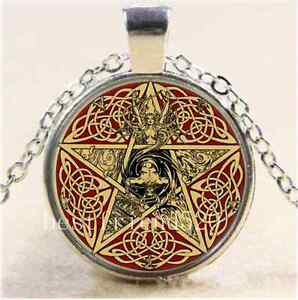 Celta-Pentagrama-Diosa-de-cabujon-de-cristal-plata-Tibet-Cadena-Colgante-Collar