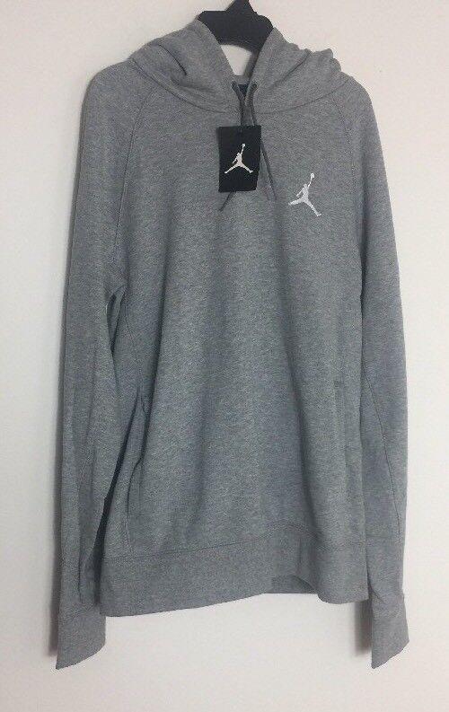 Jordan Flight Pullover Hoodie 809453-063 Grau/Weiß Größe M
