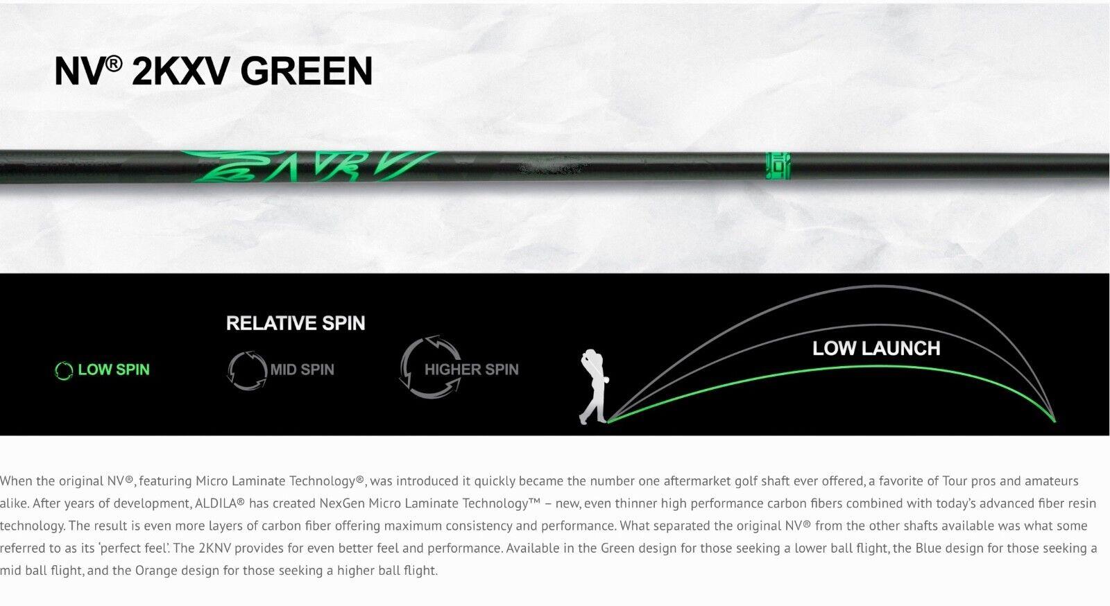 Marca NUEVA Aldila NV verde 2KXV 75 Eje Rígido Controlador .335 lanzamiento de bajo del MIT.