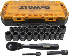 Dewalt Combination Deep Impact Socket Set Ratchet 23 Piece Tool 38 Drive Black