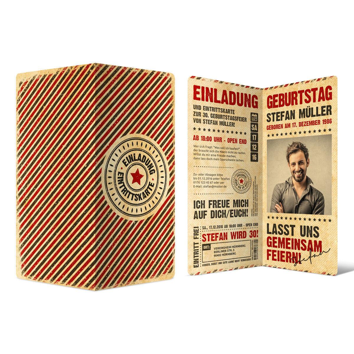 Geburtstag Einladungskarten Einladungen - Grunge Vintage Retro Eintrittskarten   | Hohe Qualität Und Geringen Overhead  | Ausgezeichneter Wert