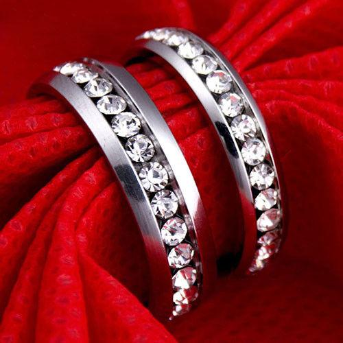 QA/_ Men Women Couple Lover Rhinestone Steel Engagement Ring Wedding Jewelry Ch