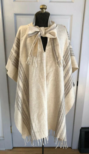 Vintage Wool Poncho Ivory Cream Stripe Cape With S