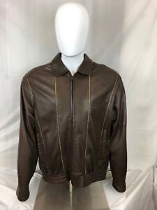 cdbd85909 Details about Sheepskin Coat Factory Men's Sheep Leather Bomber Jacket  Brown Size 40