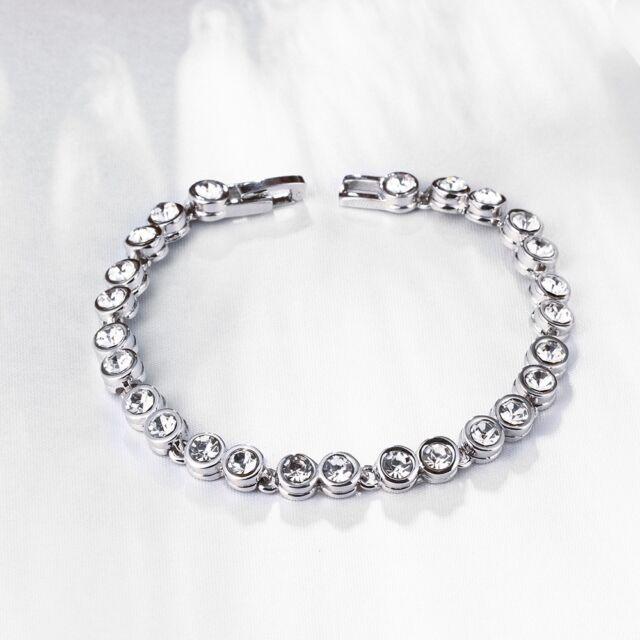 Menton Ezil Love Encounter Women Silver Bracelet Swarovski Bangle Jewelry