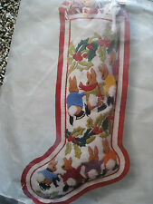 Columbia Minerva Christmas Crewel Stitchery Stocking KIT,SKATING BUNNIES,7885