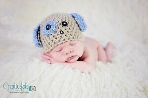 0e9939d1d56 Handmade crochet puppy dog hat with ears. Photo photography prop ...