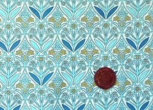 BLUE WITH AN ART NOUVEAU DESIGN  COTTON FQ - Norwich, United Kingdom - BLUE WITH AN ART NOUVEAU DESIGN  COTTON FQ - Norwich, United Kingdom