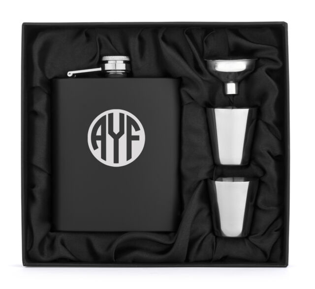 Engraved Stainless Steel FLASK MATTE BLACK Funnel Shots PERSONALIZED Monogram