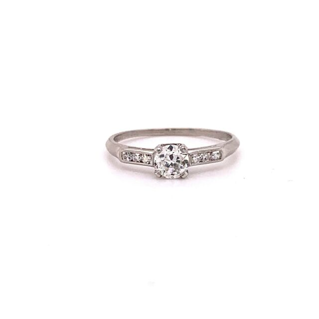 GIA Vintage Antique Platinum Round Old European Diamond