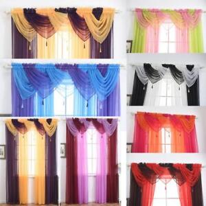 Image Is Loading HOT Voile Curtain Swags All Colours Pelmet Valance