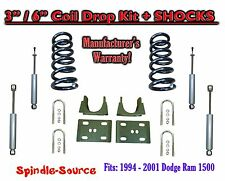 "1994 - 2001 Dodge Ram 1500 V8 Ext Cab 2WD 3"" / 6"" Drop Lowering Kit + SHOCKS"