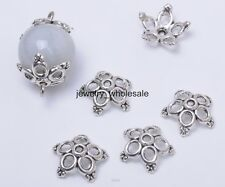 50pcs Tibetan Silver Flower Bead Caps Charm Beads Cap 12x4mm Jewelry Findings