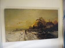 Monogrammist 1909 : Winterabend Winter Sonnenuntergang Schnee Polen Düsseldorf