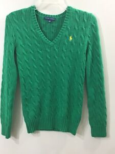Ralph-Lauren-Women-039-s-Cable-Knit-V-Neck-Green-Sweater-Size-Small-Petite
