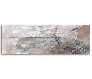Leinwandbild panorama braun grau creme wei paul sinus abstrakt 666 150x50cm ebay - Leinwandbild grau ...