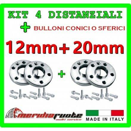 KIT 4 DISTANZIALI PER AUDI A1 20mm SPORTBACK 8X DAL 2010 PROMEX ITALY 12mm