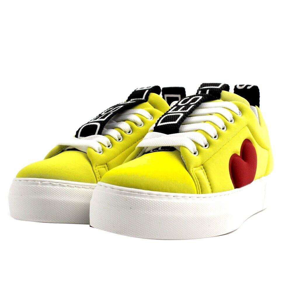 shoes Sneakers La Fille Des Fleurs Woman Fabric Neoprene Yellow Heart Red