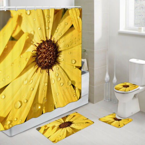 Yellow Dahlia Shower Curtain Toilet Cover Rug Bath Mat Contour Rug Set