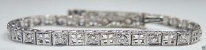 Antique-Vintage-Deco-Diamond-Bracelet-Platinum-7-034-1-40TW-G-H-VS2-SI1-EGL-USA