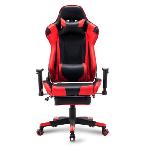 Bürostuhl Racing Stuhl Gamingstuhl Drehstuhl Sportsitz mit Fußstütze Rot BS14rt