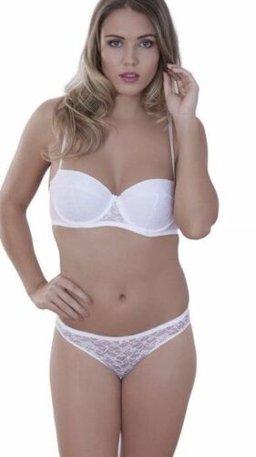 36C 12  Lepel Flower Lace Bra And Brazilian Brief Set White  Everyday Classic