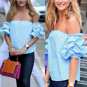 Damen-Kurzarm-Bluse-Tops-Sexy-Schulterfrei-Oberteile-T-Shirt-Hemd-Top-Sommer