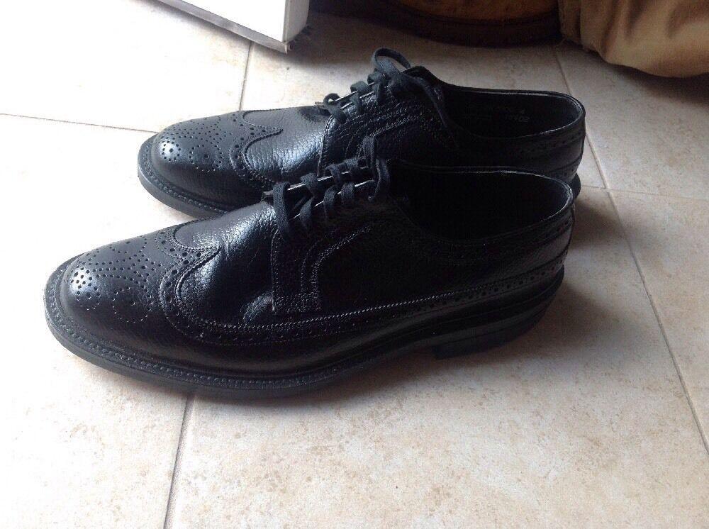 Vintage Nunn Bush negro V-Cala Corfam Wing Tip Zapato 9D Morgan Cort